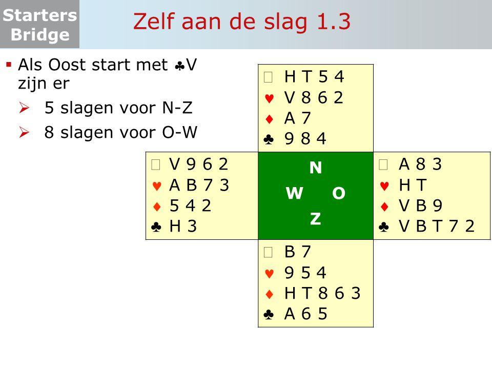 Zelf aan de slag 1.3 Als Oost start met V zijn er 5 slagen voor N-Z