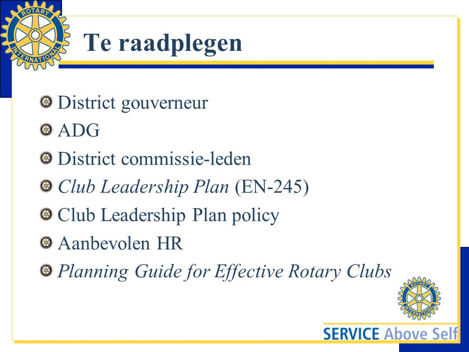 Te raadplegen District gouverneur ADG District commissie-leden