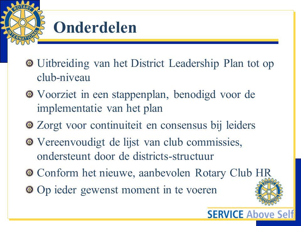 Onderdelen Uitbreiding van het District Leadership Plan tot op club-niveau.