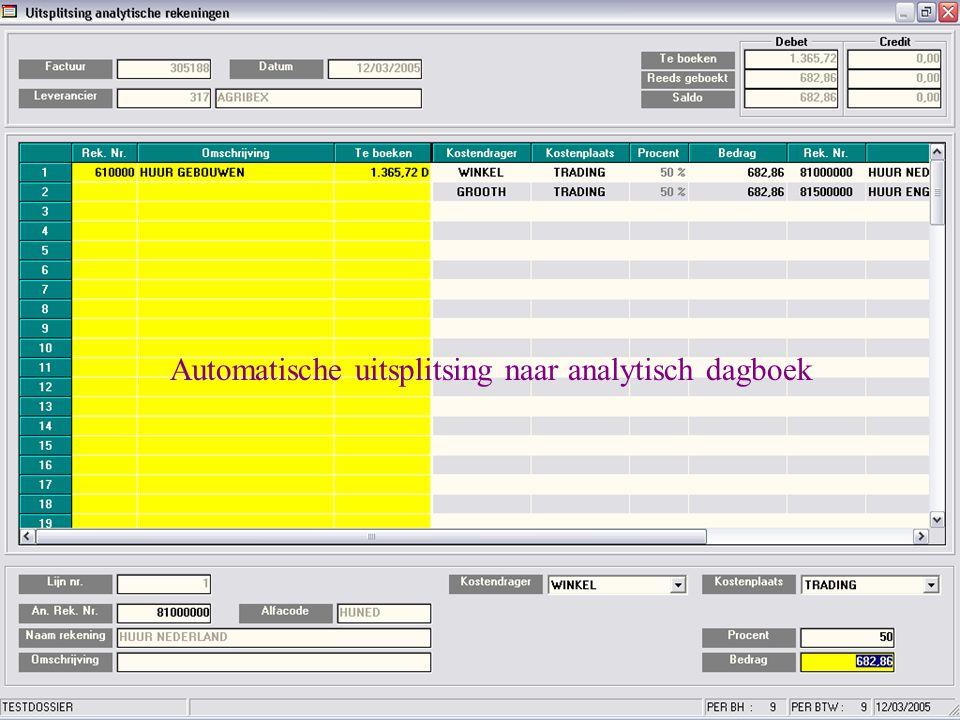 Automatische uitsplitsing naar analytisch dagboek