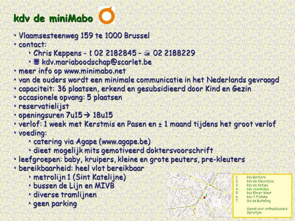 kdv de miniMabo Vlaamsesteenweg 159 te 1000 Brussel contact: