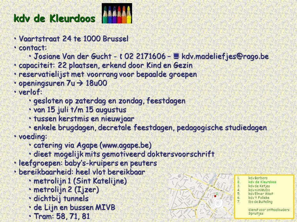 kdv de Kleurdoos Vaartstraat 24 te 1000 Brussel contact: