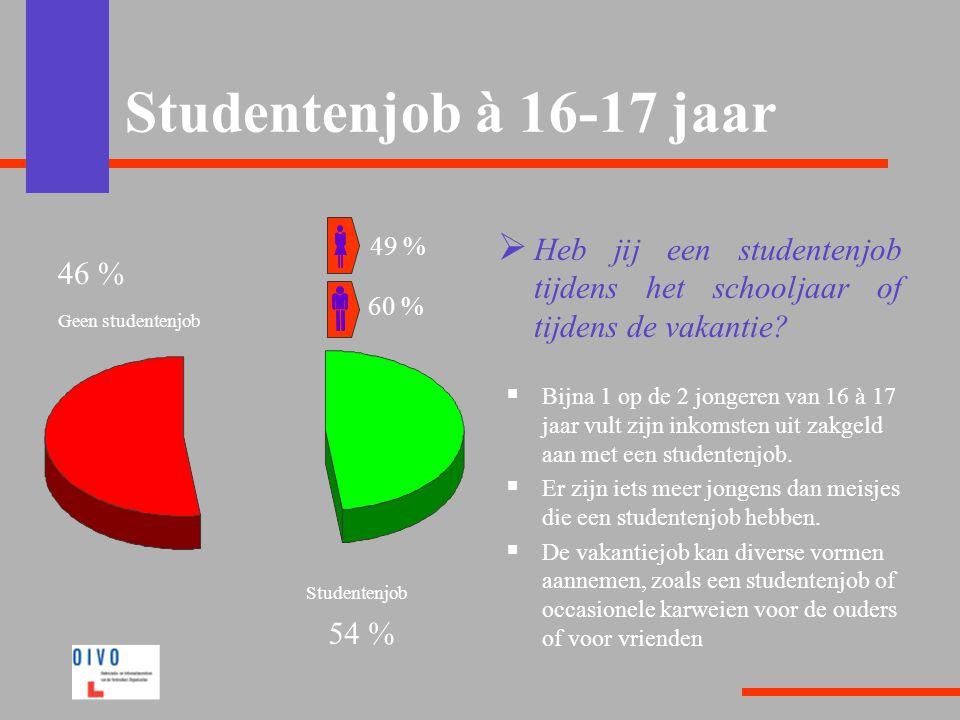 Studentenjob à 16-17 jaar 49 % Heb jij een studentenjob tijdens het schooljaar of tijdens de vakantie