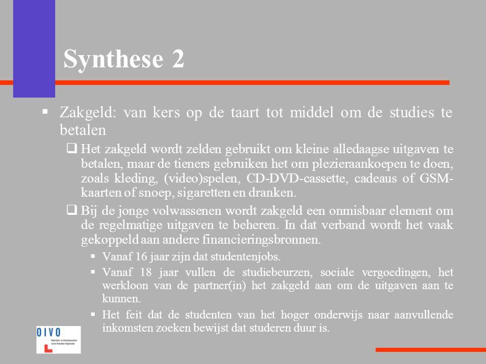 Synthese 2 Zakgeld: van kers op de taart tot middel om de studies te betalen.