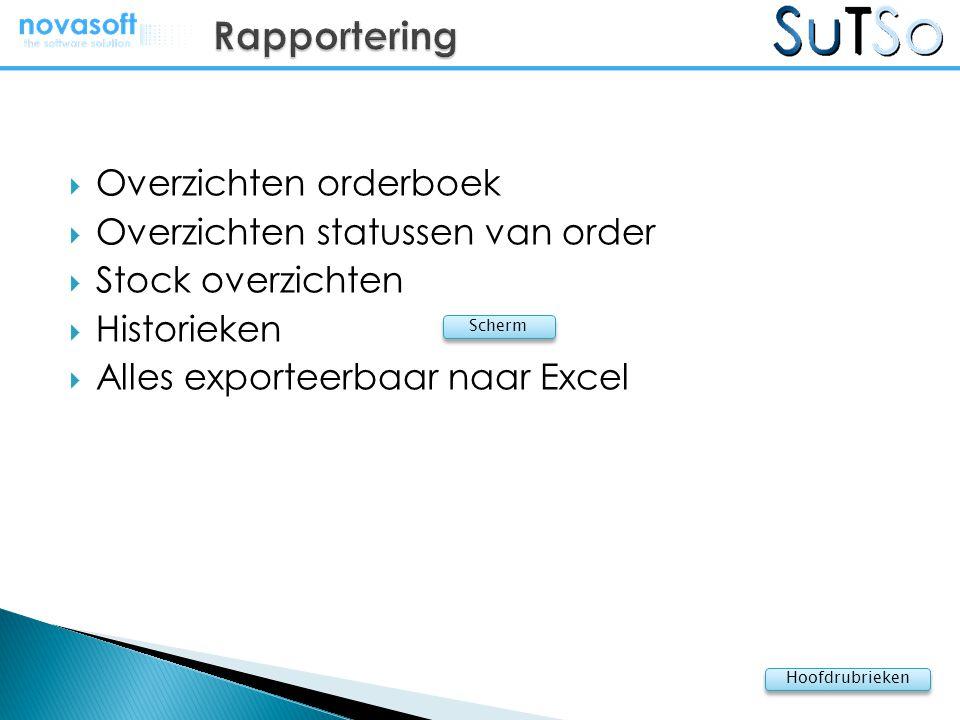 Rapportering Overzichten orderboek Overzichten statussen van order