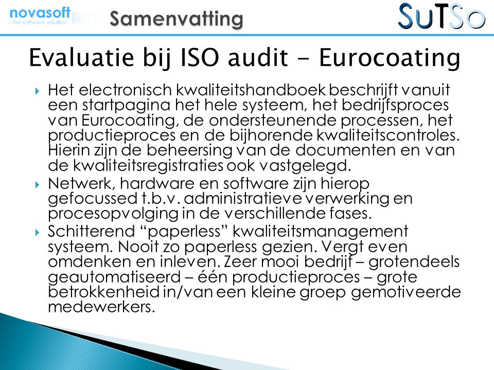 Evaluatie bij ISO audit - Eurocoating