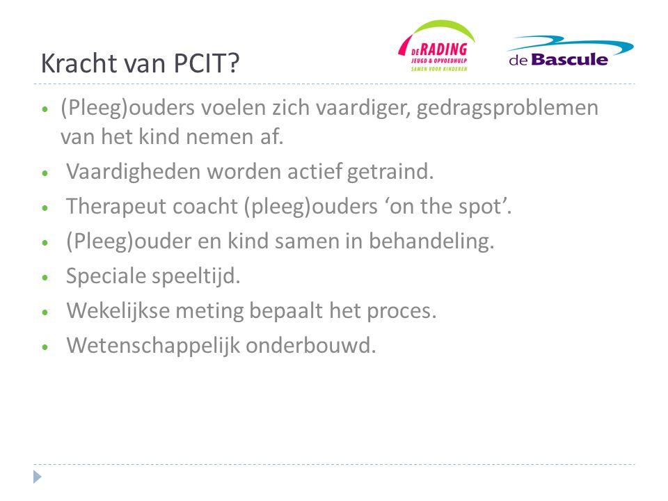 Kracht van PCIT (Pleeg)ouders voelen zich vaardiger, gedragsproblemen van het kind nemen af. Vaardigheden worden actief getraind.