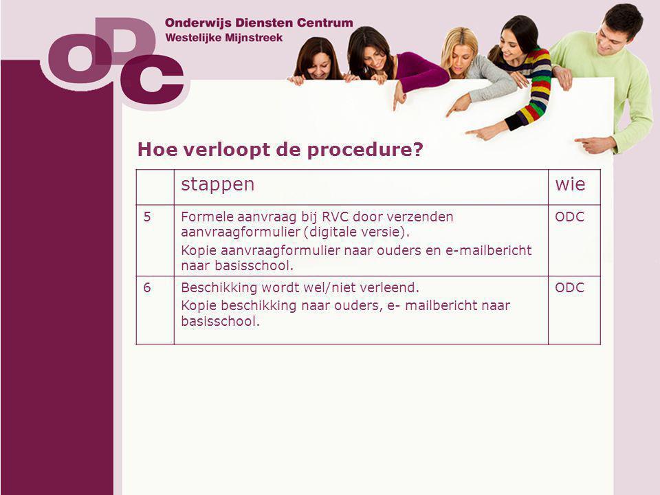 Hoe verloopt de procedure stappen wie