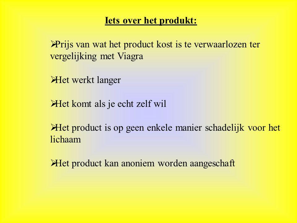 Iets over het produkt: Prijs van wat het product kost is te verwaarlozen ter vergelijking met Viagra.