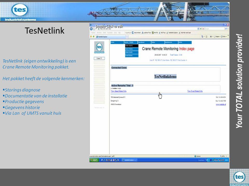 TesNetlink TesNetlink (eigen ontwikkeling) is een Crane Remote Monitoring pakket. Het pakket heeft de volgende kenmerken: