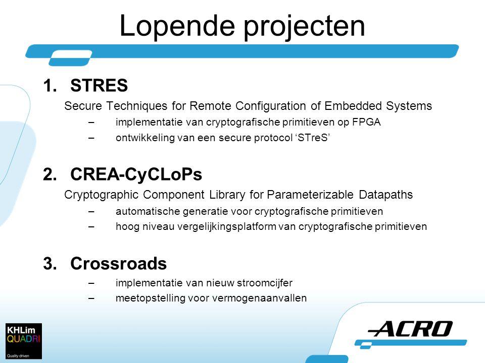 Lopende projecten STRES CREA-CyCLoPs Crossroads
