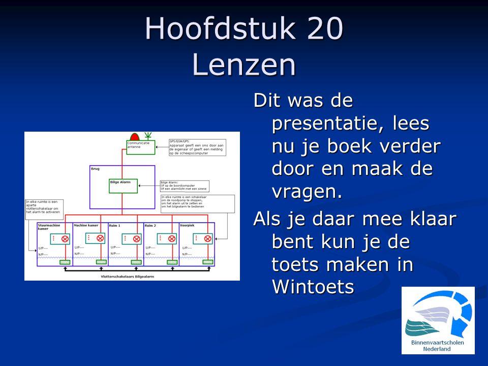 Hoofdstuk 20 Lenzen Dit was de presentatie, lees nu je boek verder door en maak de vragen.