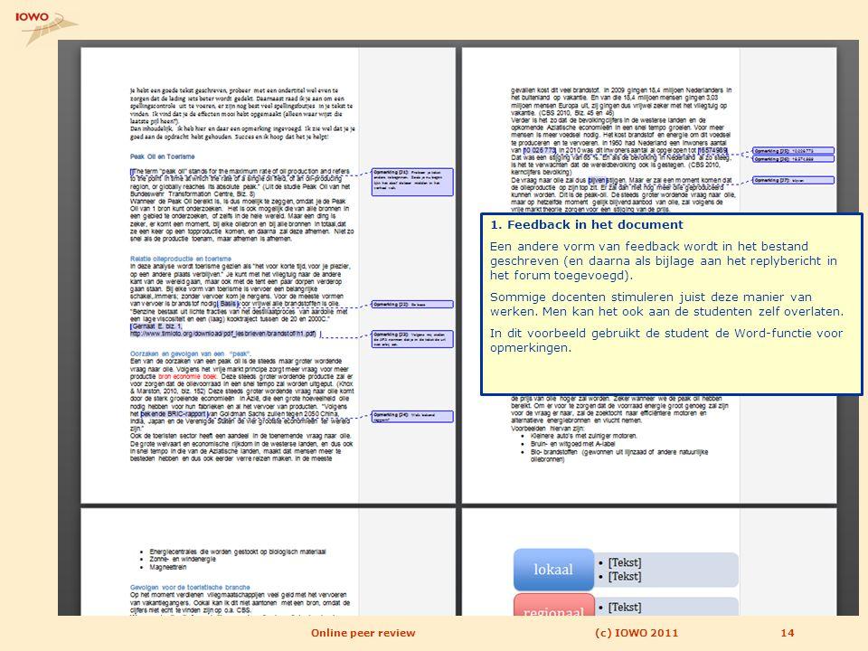 1. Feedback in het document