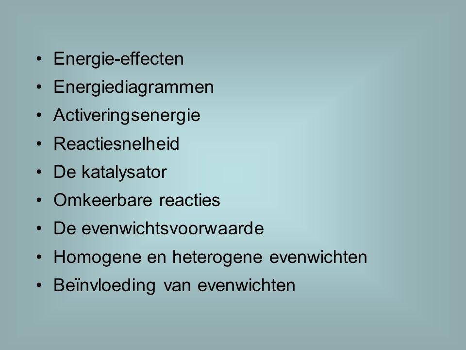 Energie-effecten Energiediagrammen. Activeringsenergie. Reactiesnelheid. De katalysator. Omkeerbare reacties.