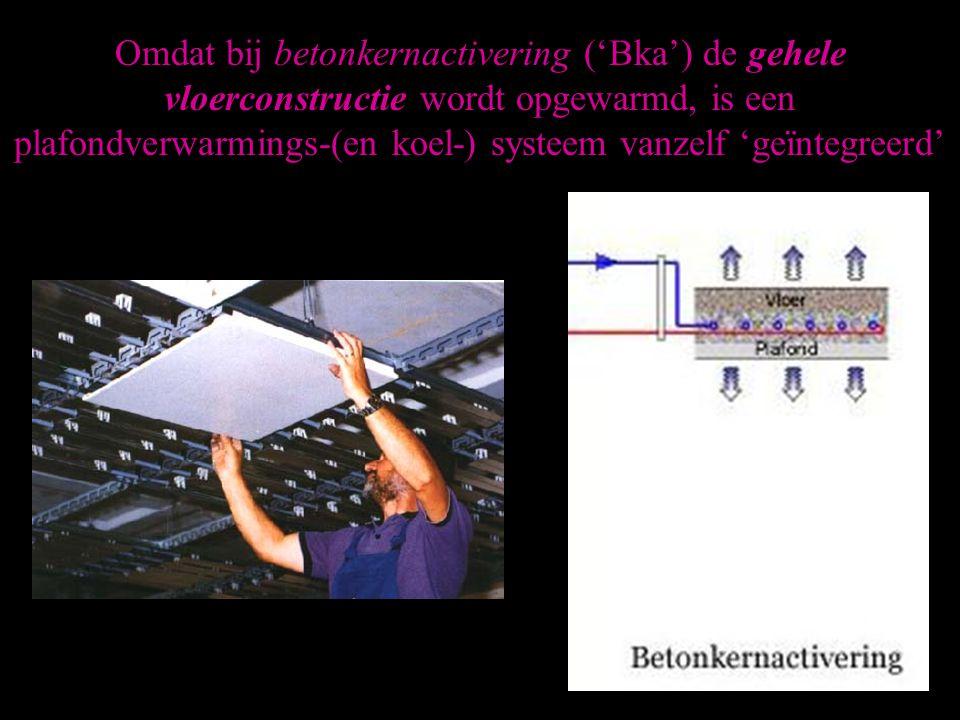 Omdat bij betonkernactivering ('Bka') de gehele vloerconstructie wordt opgewarmd, is een plafondverwarmings-(en koel-) systeem vanzelf 'geïntegreerd'