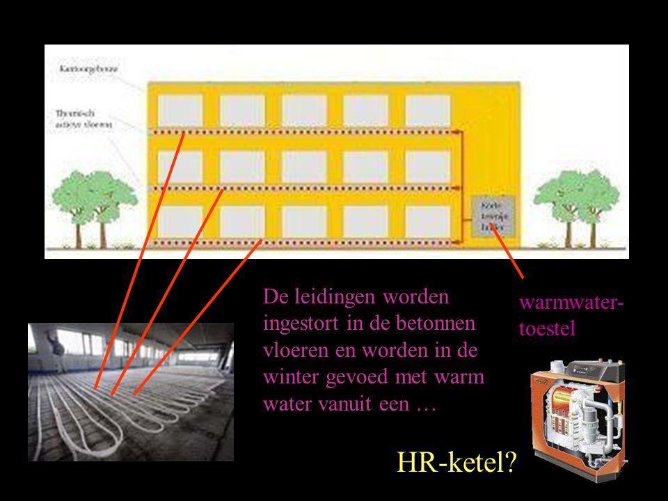 De leidingen worden ingestort in de betonnen vloeren en worden in de winter gevoed met warm water vanuit een …