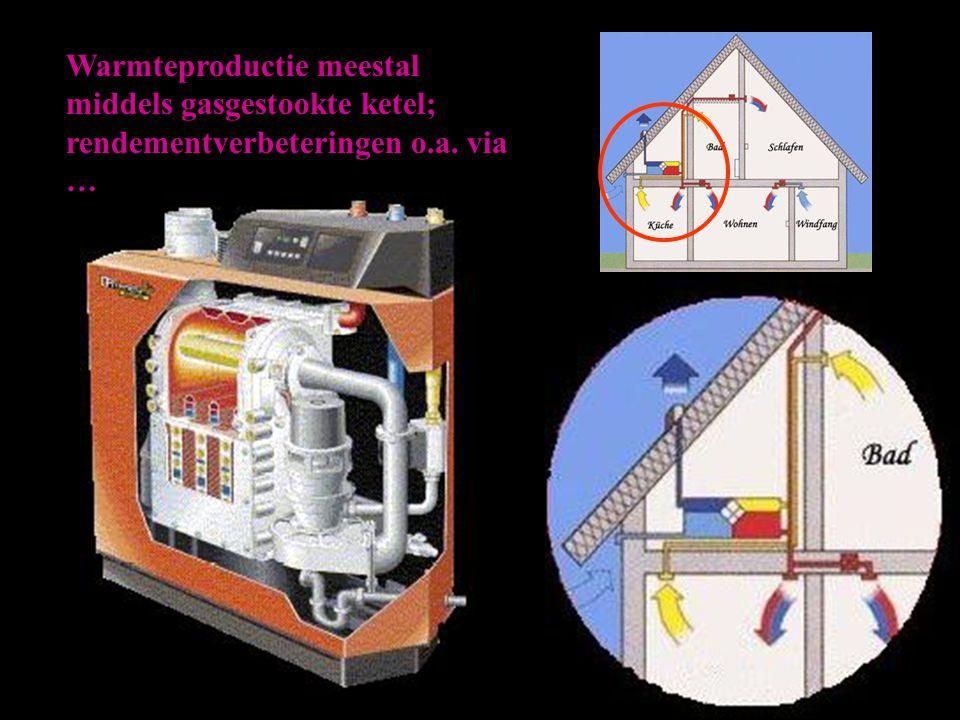 Warmteproductie meestal middels gasgestookte ketel; rendementverbeteringen o.a. via …