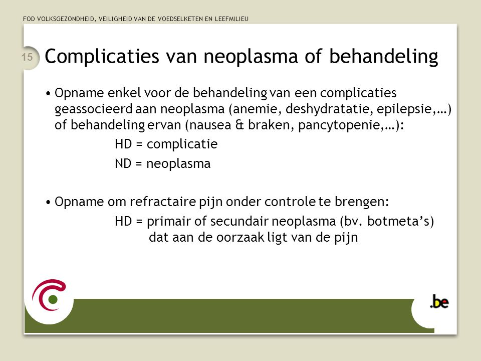 Complicaties van neoplasma of behandeling