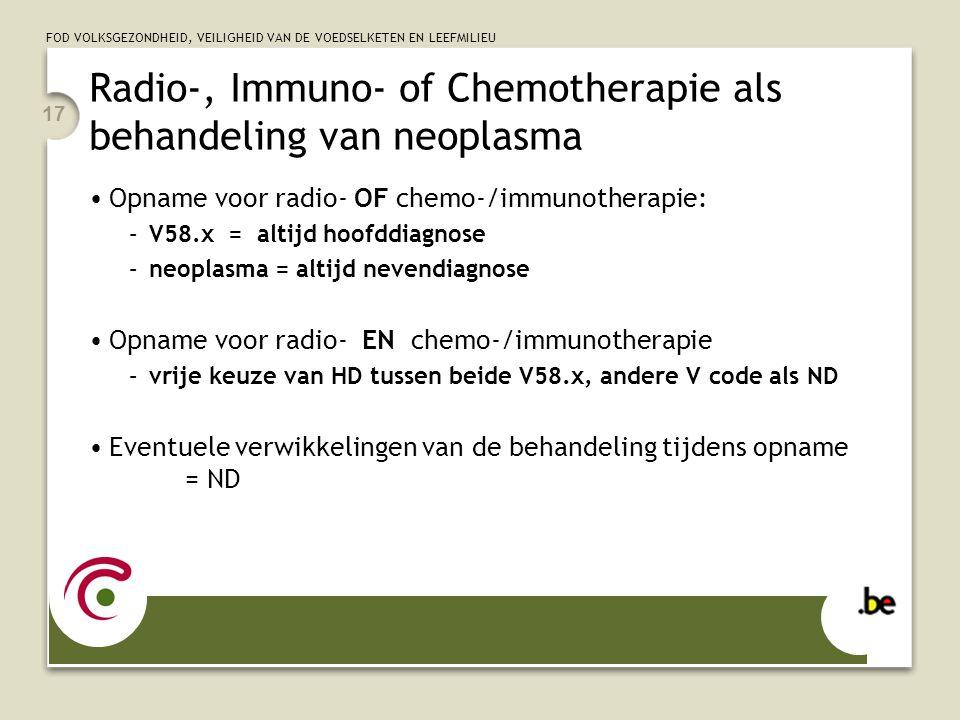 Radio-, Immuno- of Chemotherapie als behandeling van neoplasma