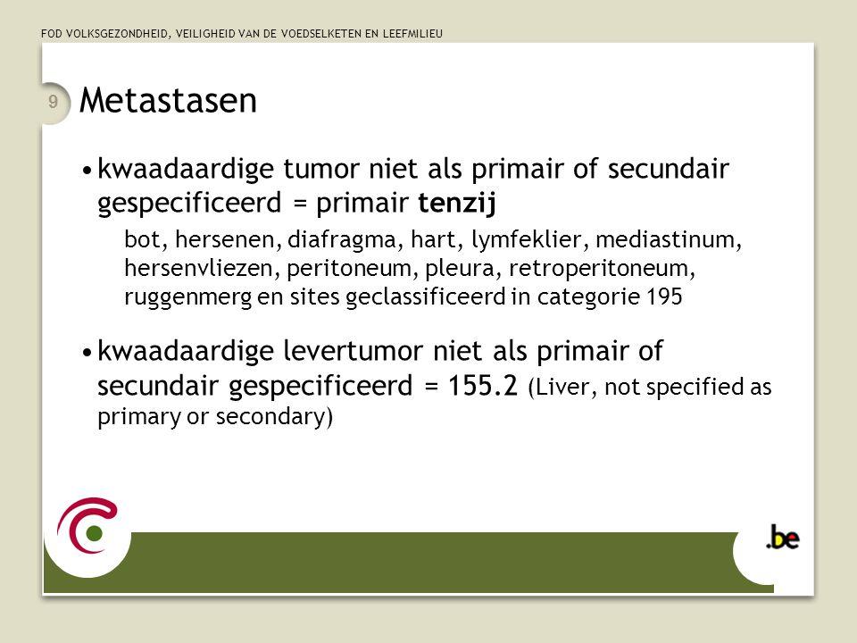 Metastasen kwaadaardige tumor niet als primair of secundair gespecificeerd = primair tenzij.