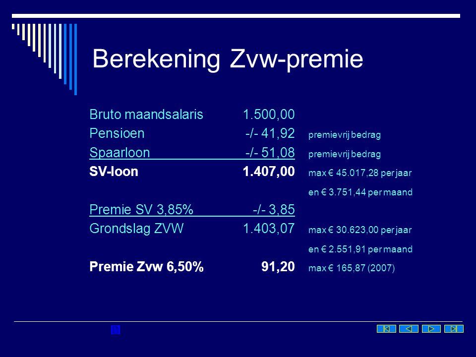 Berekening Zvw-premie