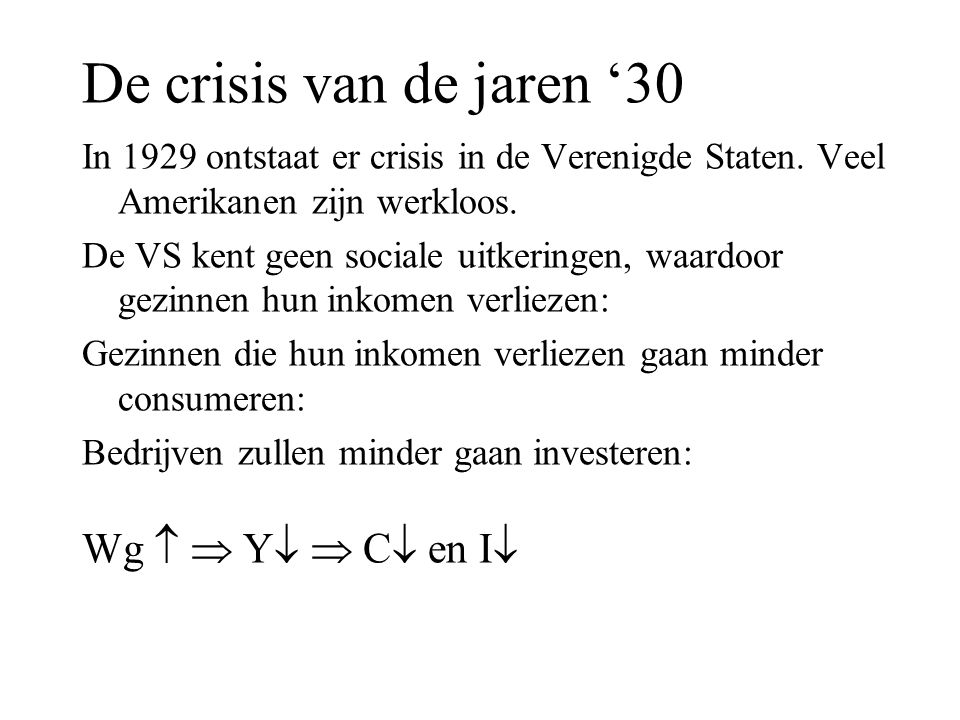 De crisis van de jaren '30 Wg   Y  C en I
