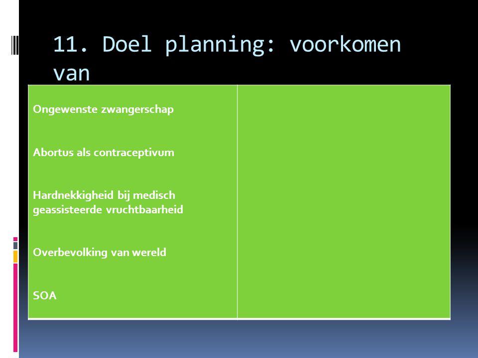 11. Doel planning: voorkomen van