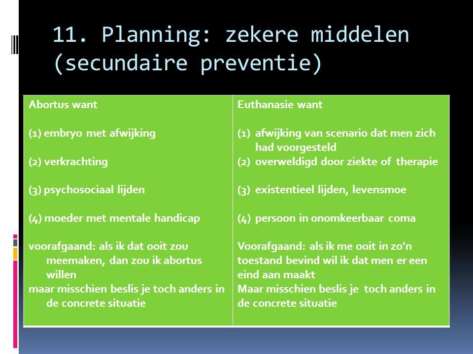 11. Planning: zekere middelen (secundaire preventie)