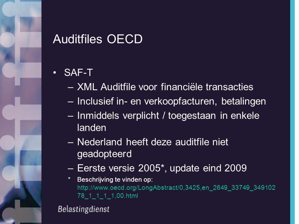 Auditfiles OECD SAF-T XML Auditfile voor financiële transacties