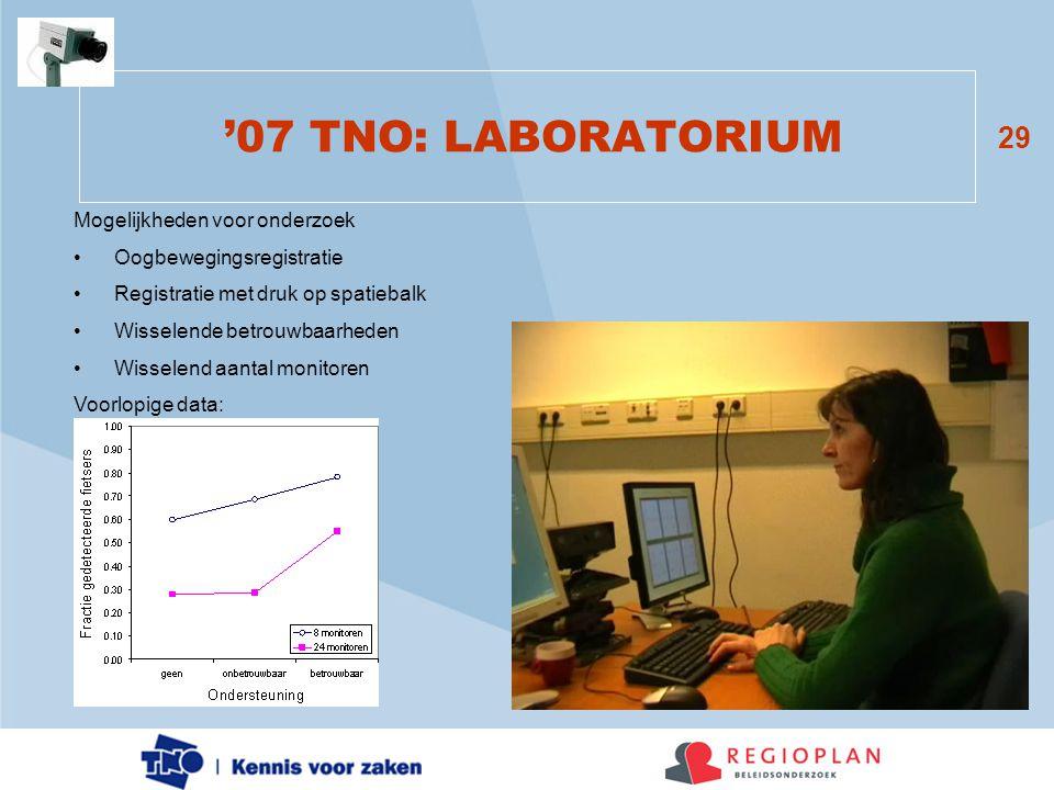 '07 TNO: LABORATORIUM Mogelijkheden voor onderzoek