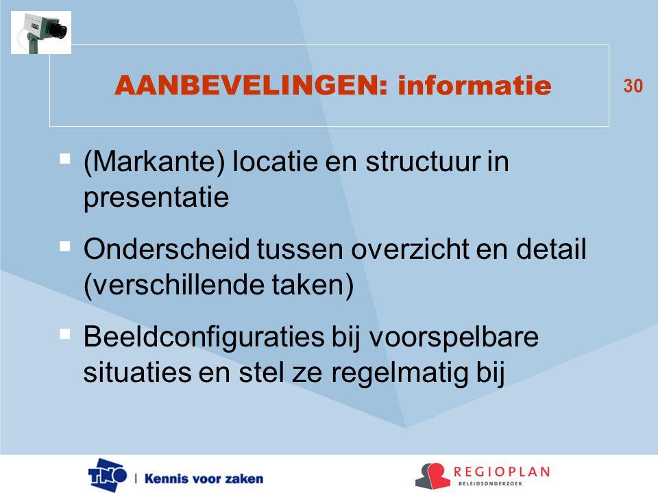 AANBEVELINGEN: informatie
