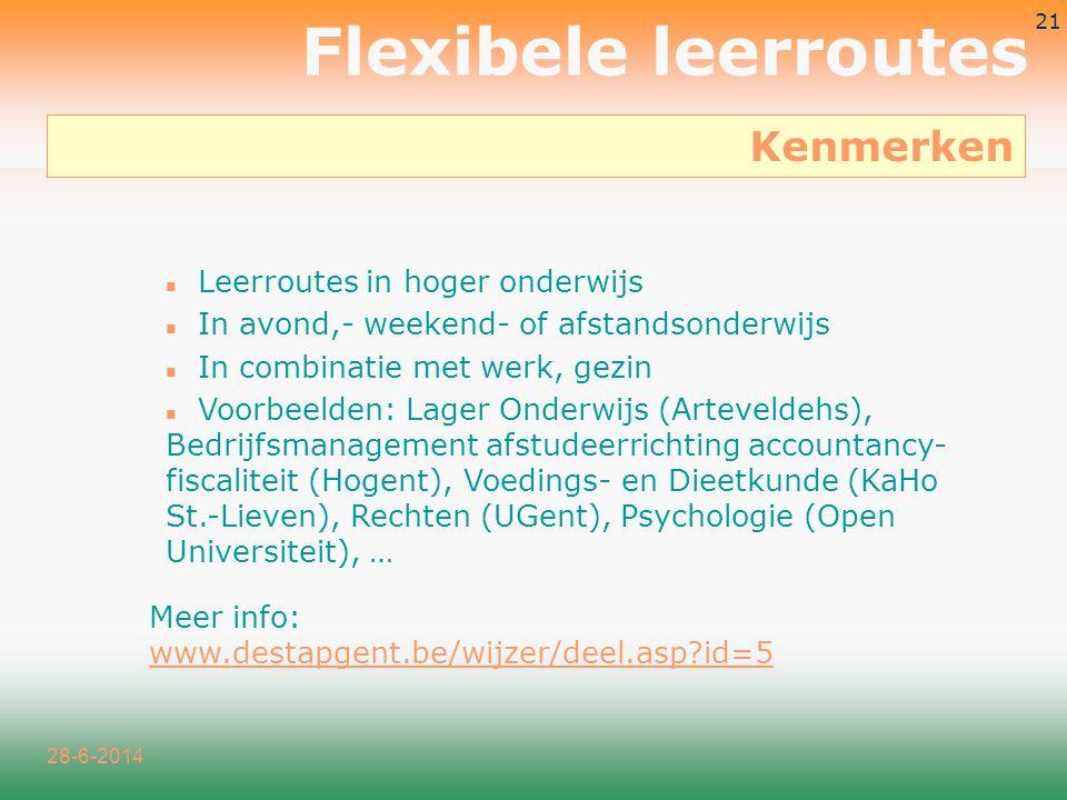 Flexibele leerroutes Kenmerken Leerroutes in hoger onderwijs