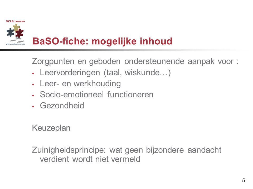BaSO-fiche: mogelijke inhoud