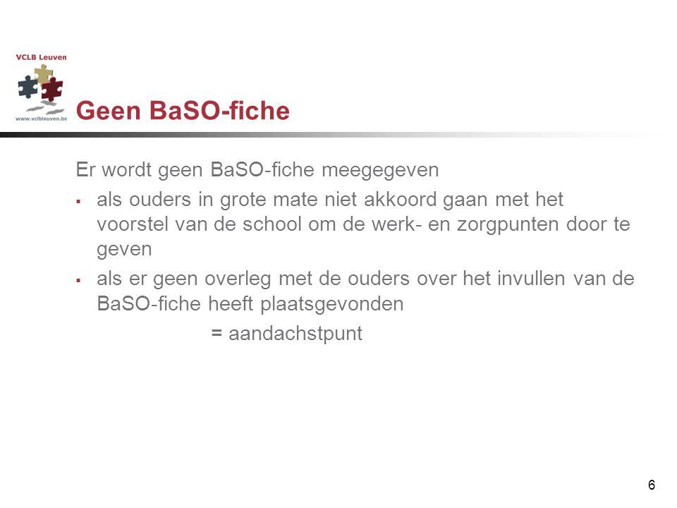 Geen BaSO-fiche Er wordt geen BaSO-fiche meegegeven