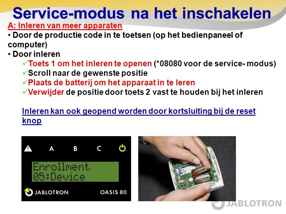 Service-modus na het inschakelen