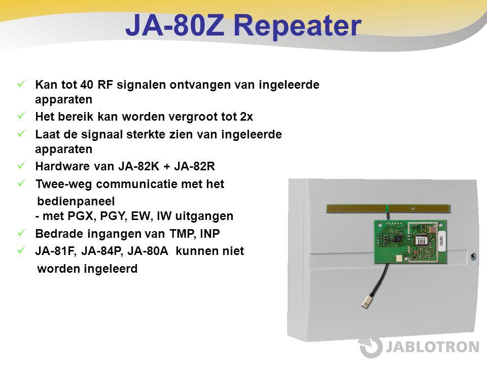 JA-80Z Repeater Kan tot 40 RF signalen ontvangen van ingeleerde apparaten. Het bereik kan worden vergroot tot 2x.