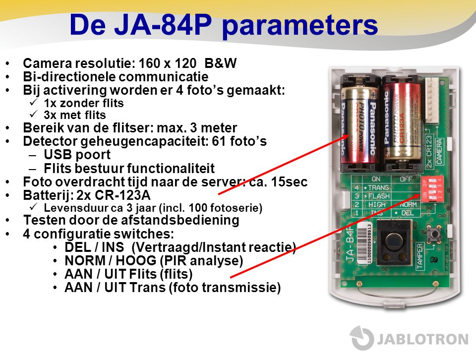 De JA-84P parameters Camera resolutie: 160 x 120 B&W