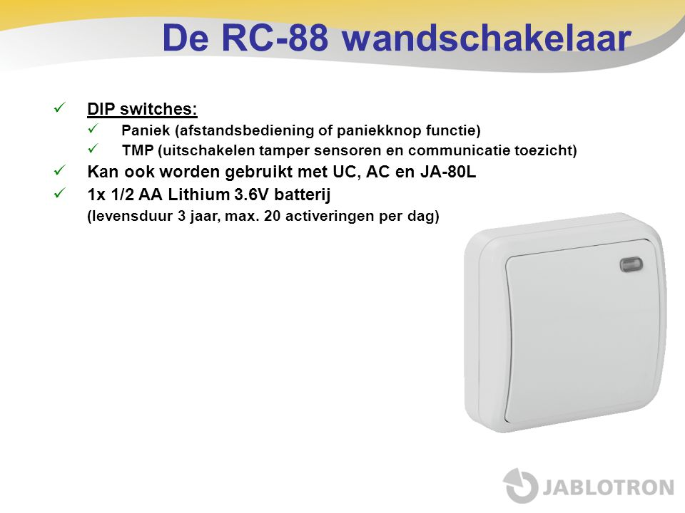 De RC-88 wandschakelaar DIP switches: