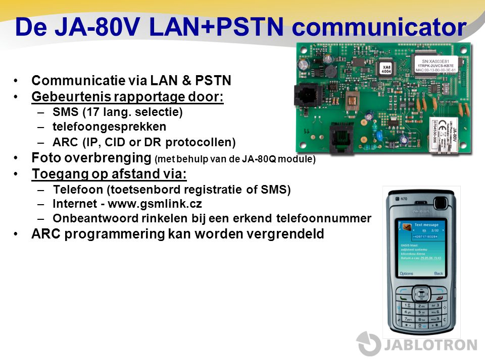 De JA-80V LAN+PSTN communicator
