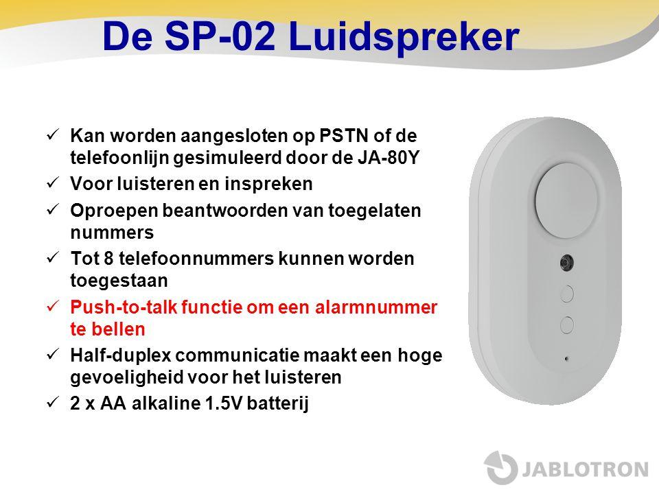 De SP-02 Luidspreker Kan worden aangesloten op PSTN of de telefoonlijn gesimuleerd door de JA-80Y. Voor luisteren en inspreken.