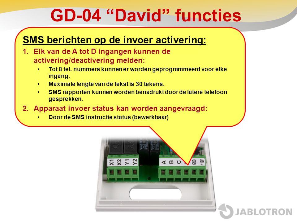 GD-04 David functies SMS berichten op de invoer activering: