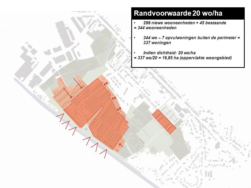 Randvoorwaarde 20 wo/ha 299 niewe wooneenheden + 45 bestaande