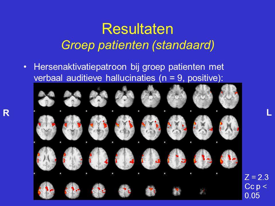 Resultaten Groep patienten (standaard)