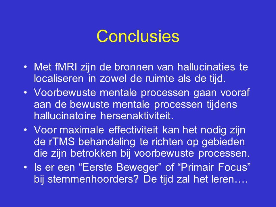 Conclusies Met fMRI zijn de bronnen van hallucinaties te localiseren in zowel de ruimte als de tijd.