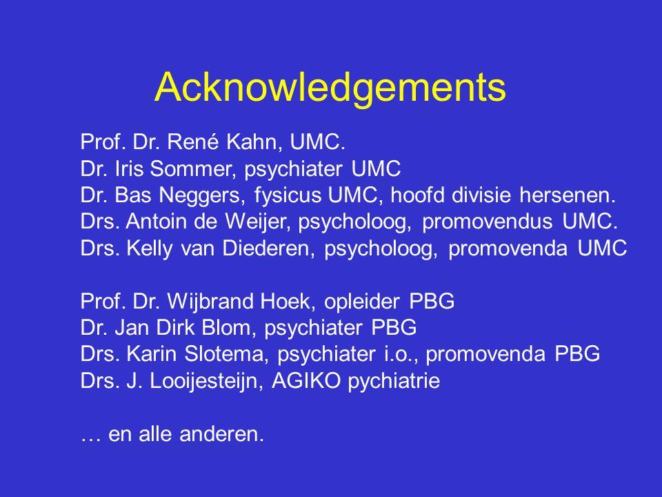 Acknowledgements Prof. Dr. René Kahn, UMC.
