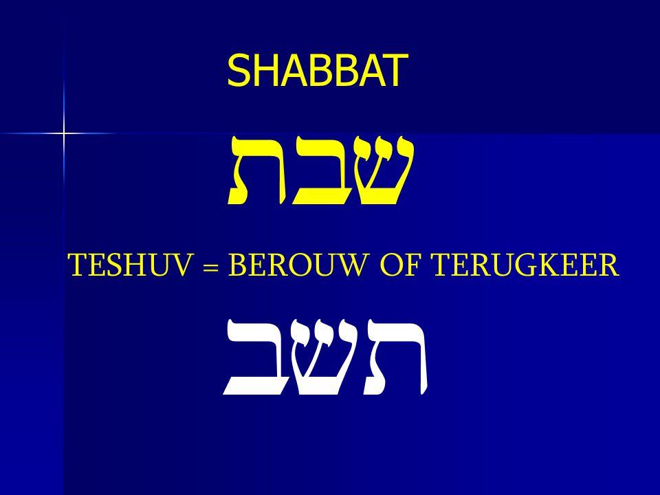 SHABBAT tbv TESHUV = BEROUW OF TERUGKEER bvt