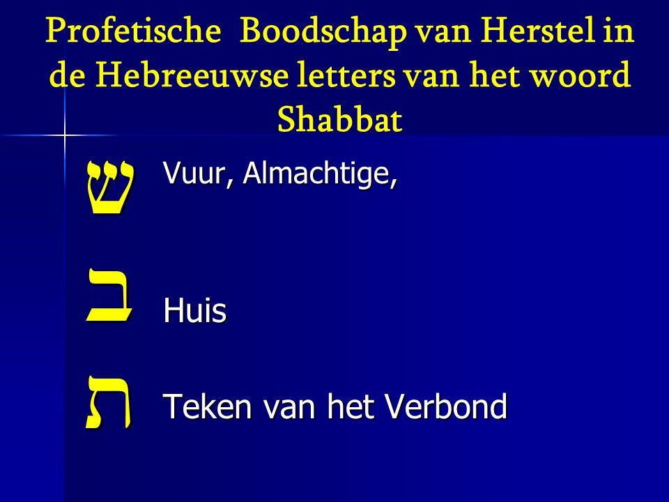 Profetische Boodschap van Herstel in de Hebreeuwse letters van het woord Shabbat