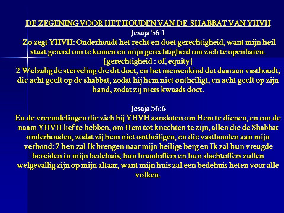 DE ZEGENING VOOR HET HOUDEN VAN DE SHABBAT VAN YHVH