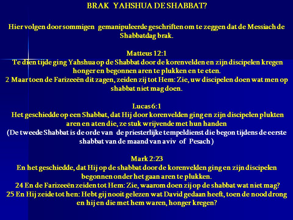 BRAK YAHSHUA DE SHABBAT
