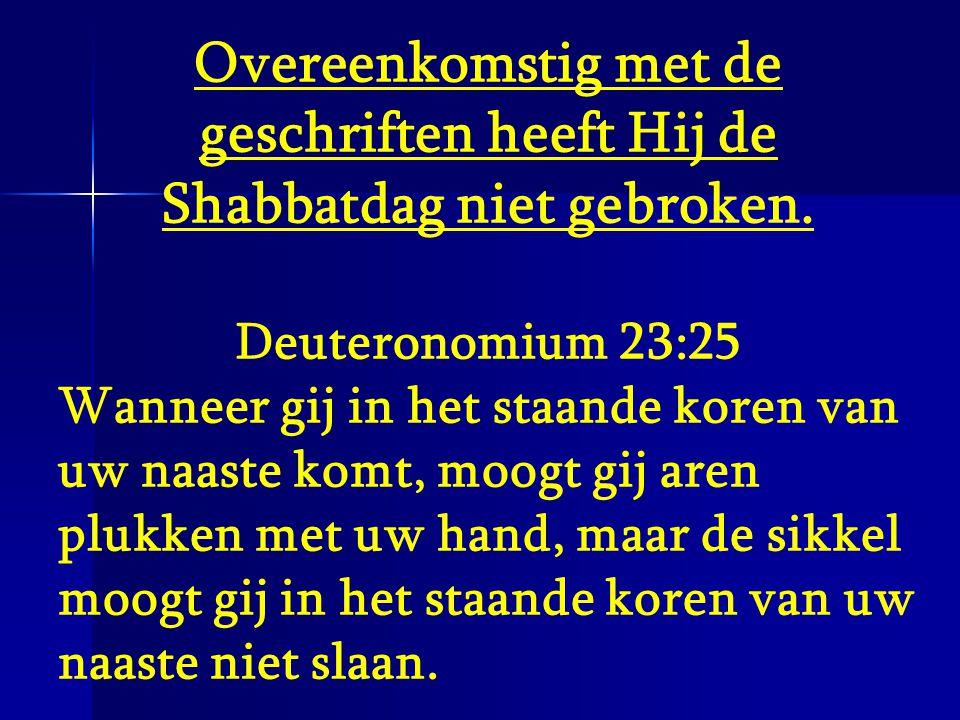 Overeenkomstig met de geschriften heeft Hij de Shabbatdag niet gebroken.